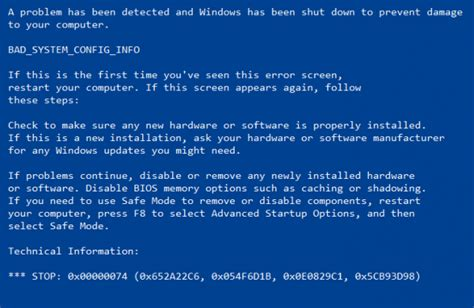 fix bad system config info error on windows computer
