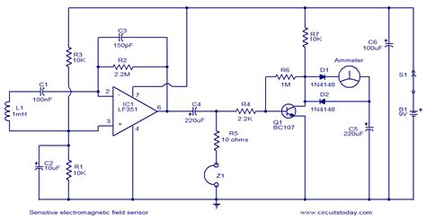sensitive electromagnetic field sensor electronic circuits and diagrams electronic projects