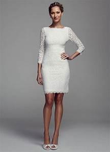 David39s Bridal Short Long Sleeve Lace Wedding Dress EBay