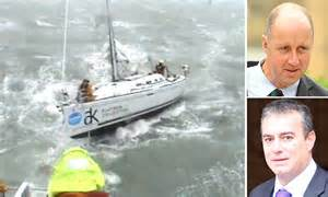 dramatic moment rookie yacht crew  rescued  rough