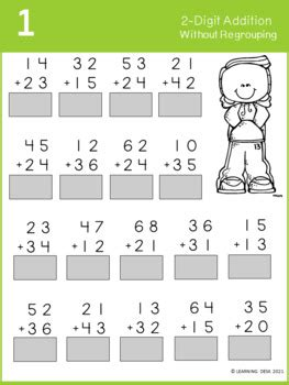 Add the numbers together starting with the ones place. 2 Digit Addition without Regrouping Worksheets by Learning ...