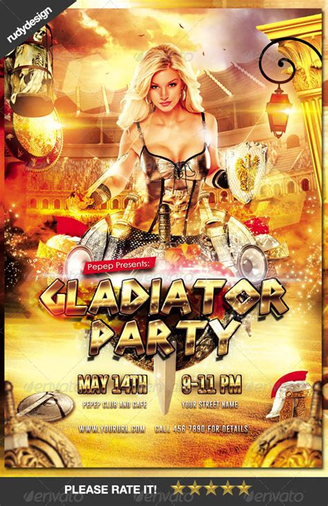 gladiator ancient rome greek party flyer graphicriver