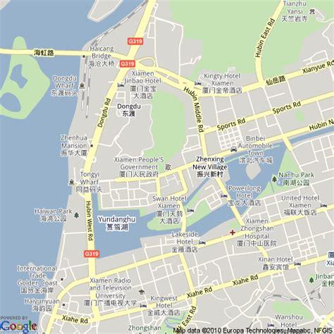 map  xiamen china hotels accommodation