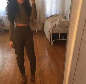 Pants crop tops high waisted pants dope tumblr clothes top olive green dark olive green ...