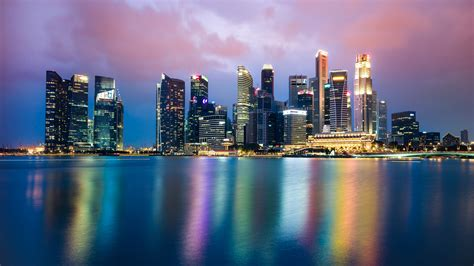 singapore night skyline  wallpapers hd wallpapers id