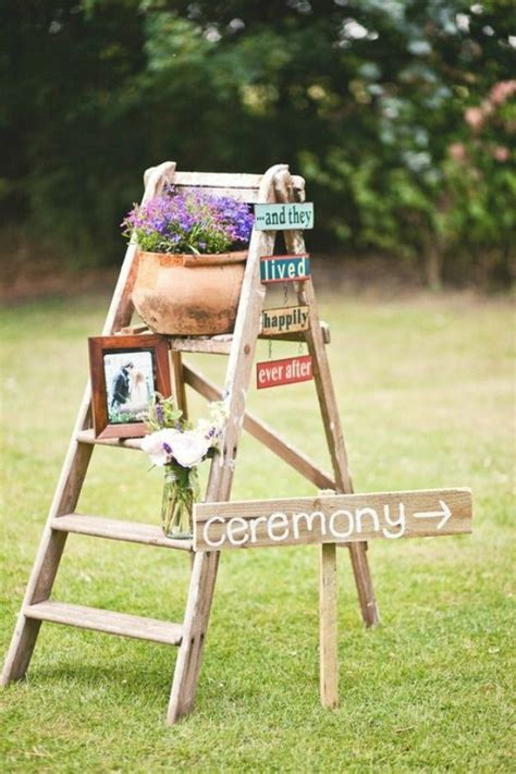 decorating wedding with ladders