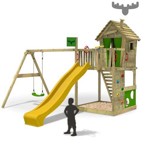 klettergerüst mit rutsche und schaukel fatmoose happyhome spielturm baumhaus kletterturm schaukel rutsche holz ebay