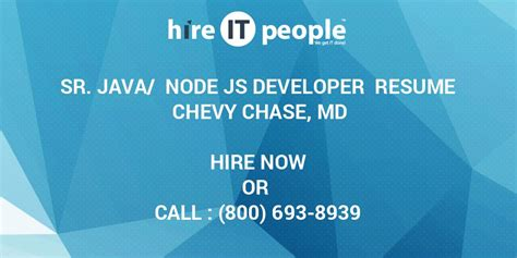 sr java node js developer resume chevy chase md hire