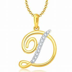 """Buy Online Pissara Letter"""" D"""" Gold and Rhodium Plated CZ"""