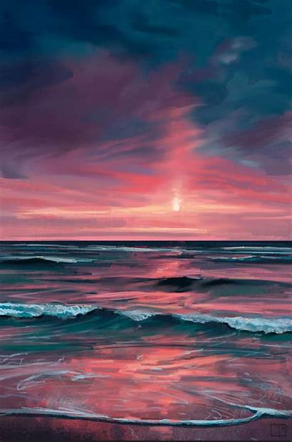 Sunset Painting Superphazed Abstract Canvas Acrylic Min
