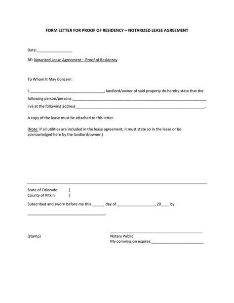 blank notarized letter  proof  residency