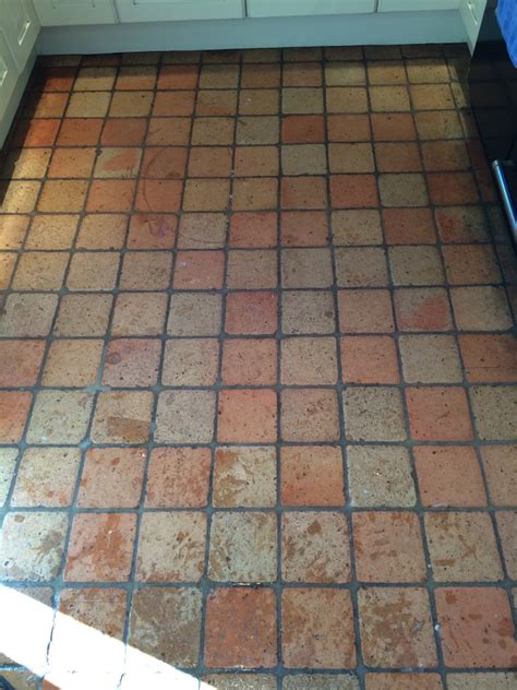cleaning a terracotta kitchen floor in burbage