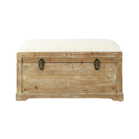 banc avec coffre de rangement en bois de sapin et coton l 81 cm cascabel maisons du monde