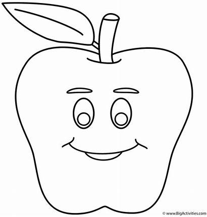 Coloring Smiley Pages Apple Face Faces Clipart