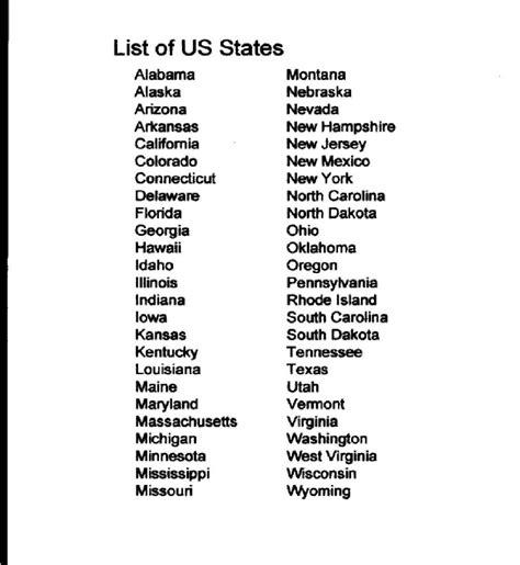 List All 50 States  List Corner