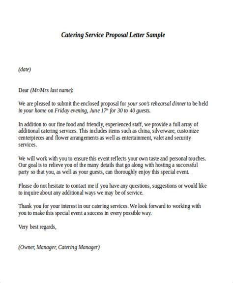 sample service proposal letter templates  ms