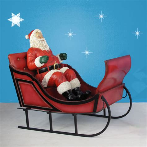 60 quot long giant santa with sleigh decoration