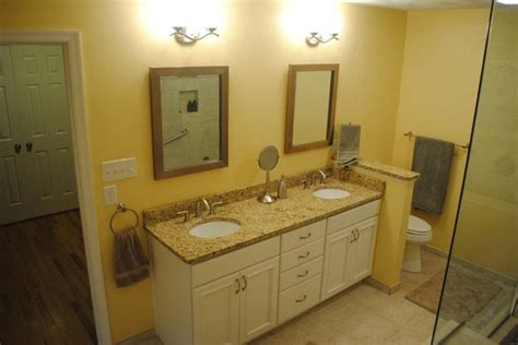 white painted cabinets granite vanity top white