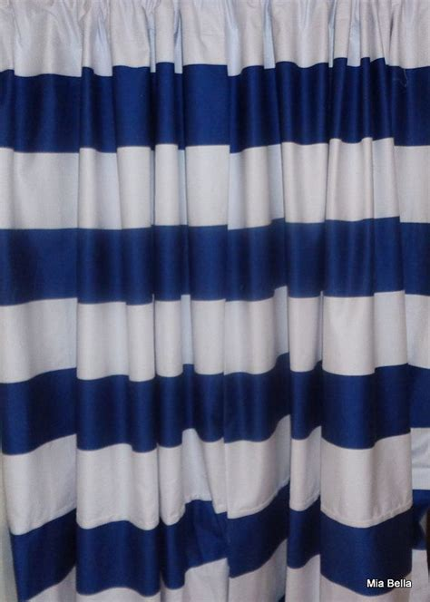 navy striped curtain panels navy blue white wide horizontal stripe curtains two