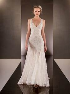 elegant beaded straps plunging v neck lace wedding dresses With plunging v neck wedding dress