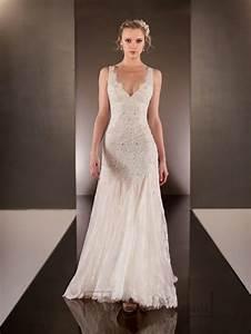 elegant beaded straps plunging v neck lace wedding dresses With wedding dresses v neck