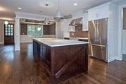 White Cabinets with Dark Brown Island - Transitional - Kitchen