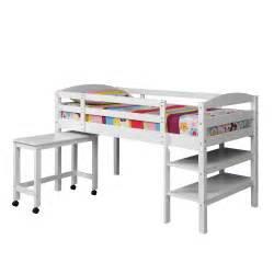 twin wood loft bed w desk white bwtld46wh