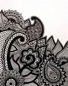 B&W   Henna Abstract Line Drawing Print Original Design...
