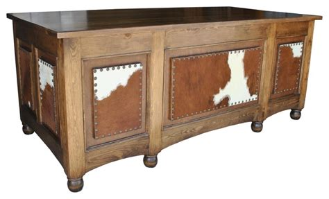 Cowhide Desk by Houston Office Desk Cowhide Southwestern Desks And