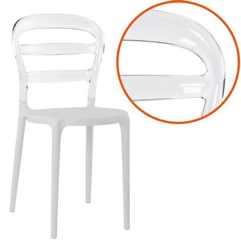 chaise design baro blanche et transparente en mati 232 re