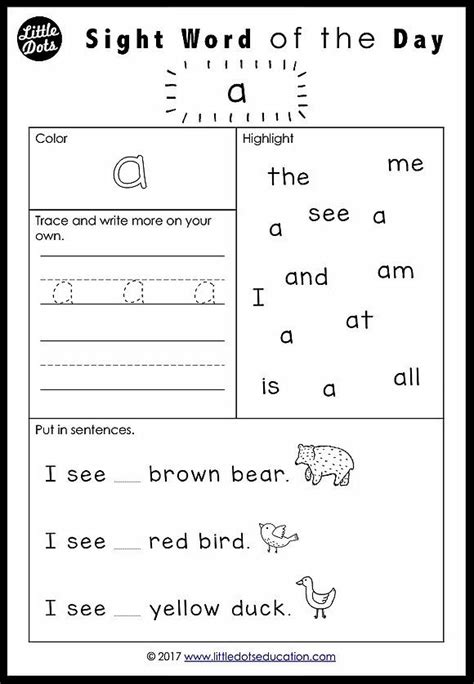 free dolch sight words worksheets for pre k or