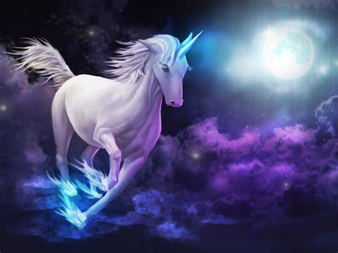 unicorn galloping sky clouds full moon desktop wallpaper