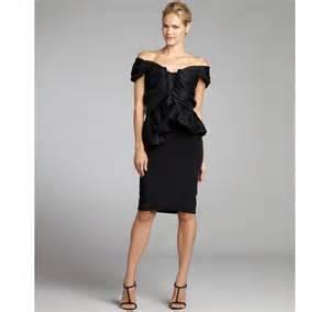 marchesa black off the shoulder peplum cocktail dress in