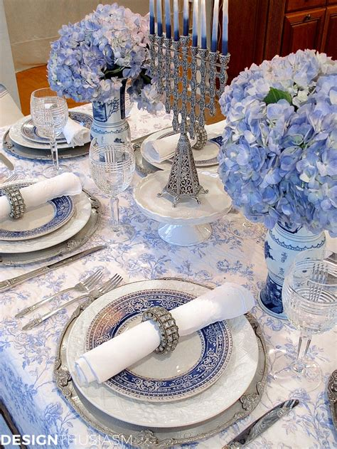 french blue  white holiday table setting  toile