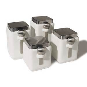 oggi kitchen canisters oggi ceramic square canister set with stainless steel spoon and lid white 4