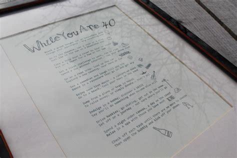 birthday gift  personalised poem print bucket list