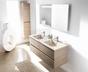 meuble vasque salle de bain bleu With salle de bain design avec vasque double en pierre
