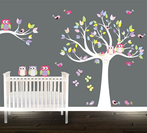 tree owl wall stickers wall tree decal nursery tree birds