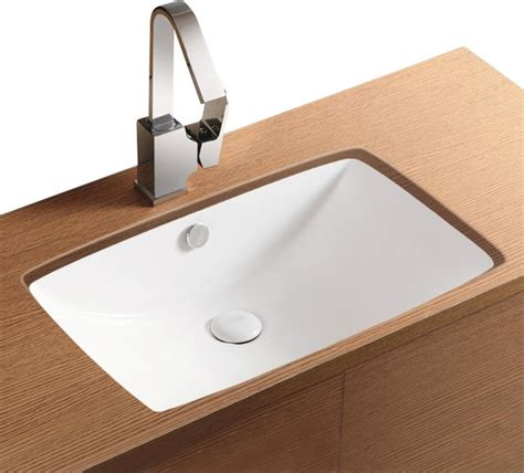 Rectangular White Ceramic Undermount Bathroom Sink, No