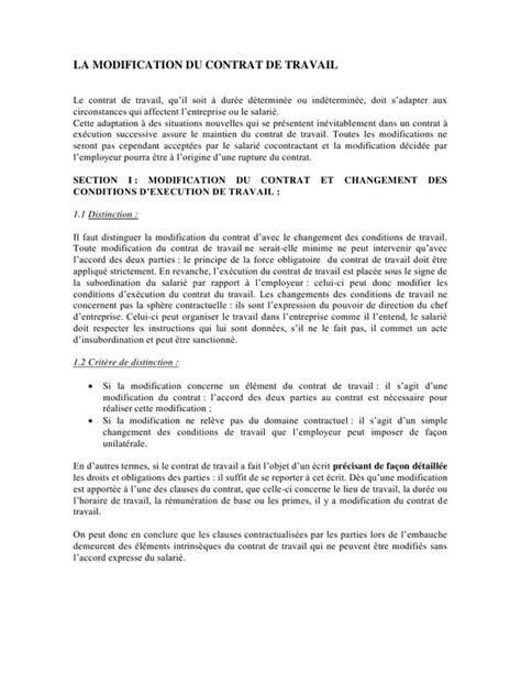 Modification Du Contrat De Travail by La Modification Du Contrat De Travail Par Grenard