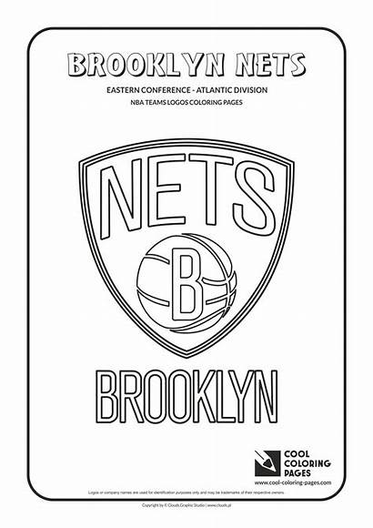 Coloring Nba Basketball Logos Brooklyn Nets Cool