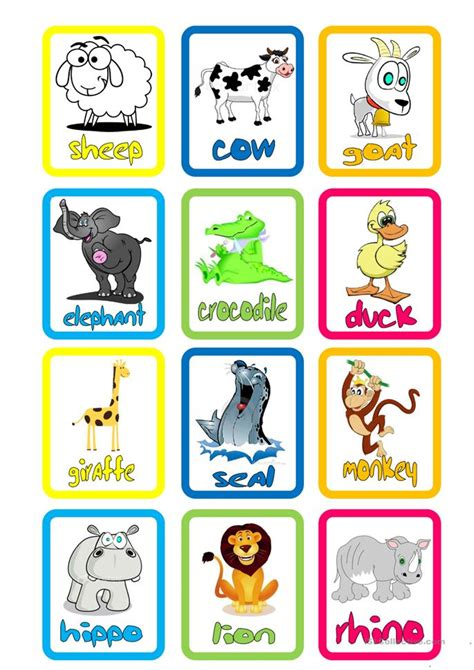 Animal Flashcards Worksheet  Free Esl Printable Worksheets Made By Teachers