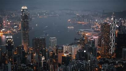 Night Skyscrapers Hong Kong Lights Background Widescreen