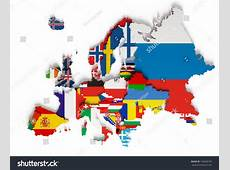European Map National Borders Countries Flags Stock