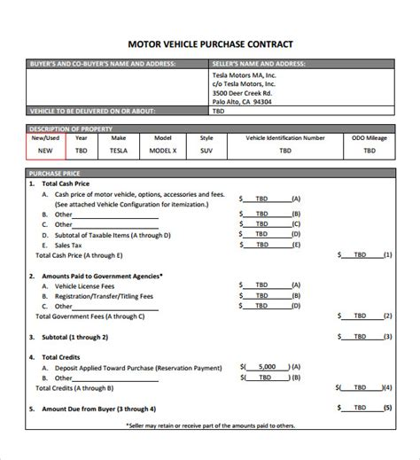 sample vehicle purchase agreement templates