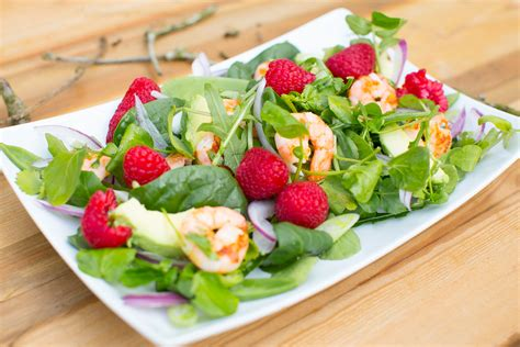 cuisine fitness fitness recipe tasty prawn raspberry salad delicious meal