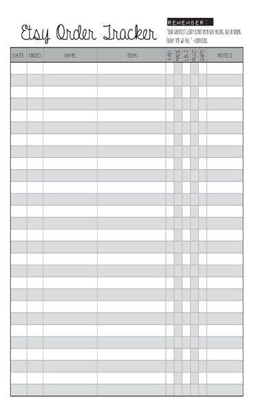 blank etsy order tracker printable planner httpswww