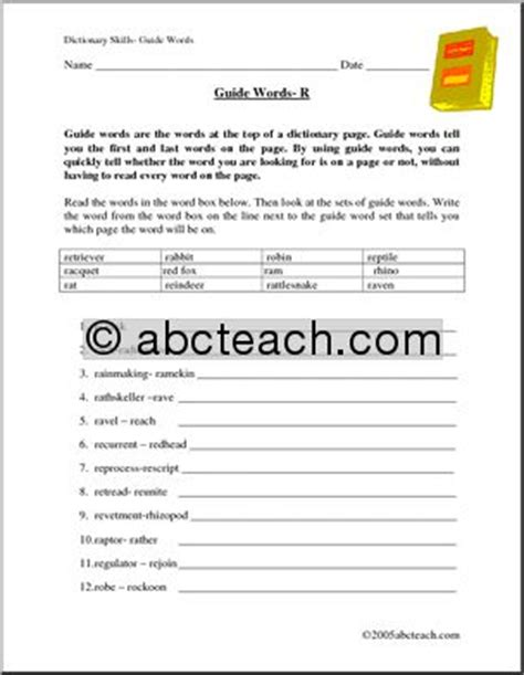 """Using Guide Words Worksheet  """"r""""  Dictionary Skills  Abc Order Abcteach"""