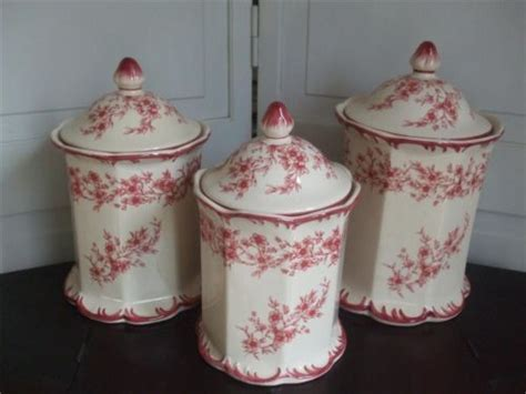 Tall Canister Set 3 Cream w brick red flowers French