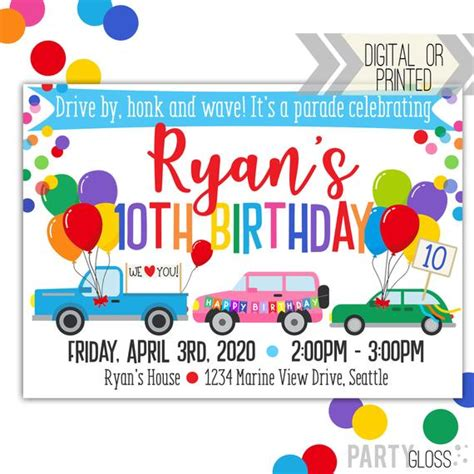 Drive By Birthday Parade Invitation Digital Invitation Etsy